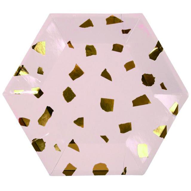 メリメリ/プレート8枚セット/Pink Terrazzo Plates