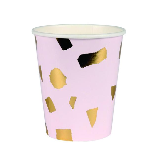 メリメリ/ペーパーカップ/Pink Terrazzo Cups