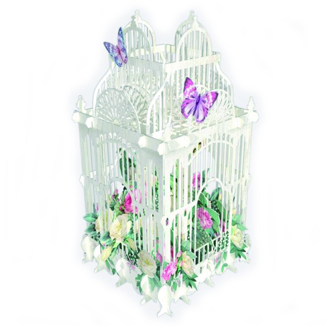 Me&McQ/シングルカード/White Bird Cage with Flowers