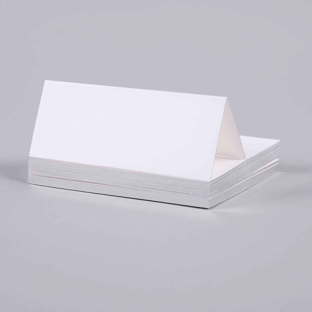 Mount Street Printers/プレイスカード/Gilt Edge Silver Tented Place Cards