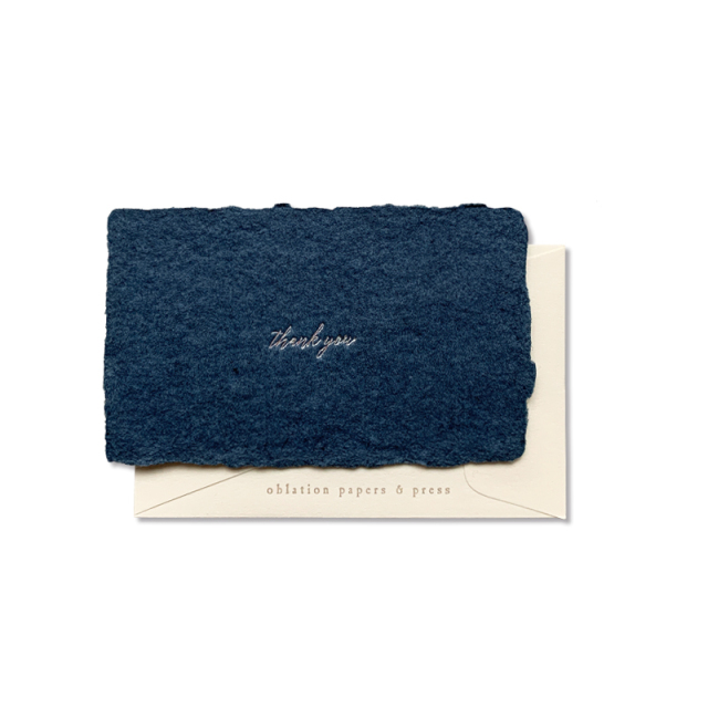 OBLATION/ボックスカード/Denim Hand Made Paper Thank You Cards With 6 Cream Envelopes