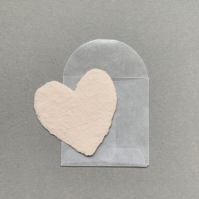 OBLATION/ミニカード/6 Petite Blush Hearts With 6 Glassine Envelopes