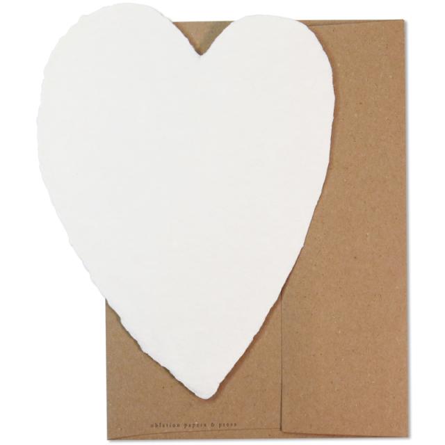 オブレイション/シングルカード/Large Cream Heart with Kraft Envelope