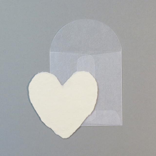 オブレイション/シングルカード/Cream Handmade Paper Mini-Heart