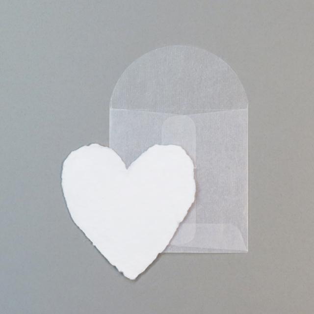 オブレイション/シングルカード/White Handmade Paper Mini-Heart