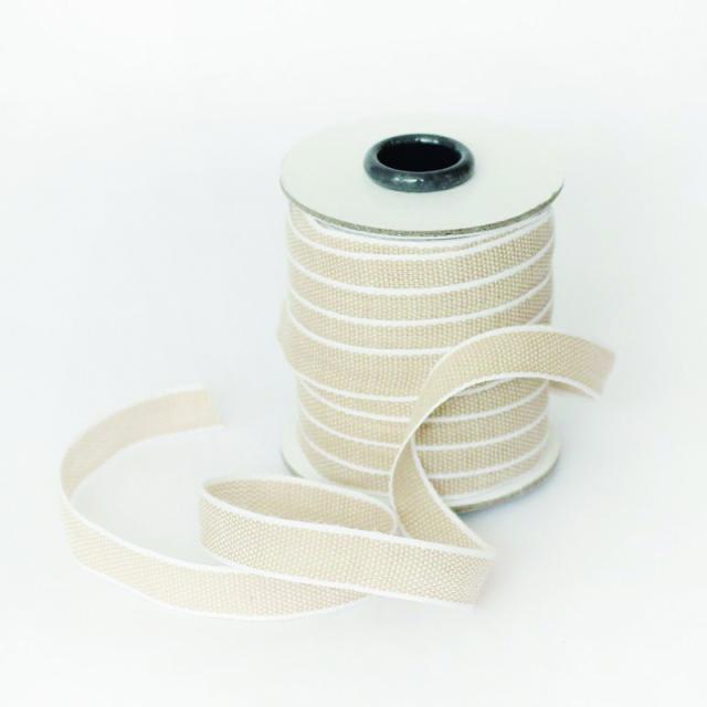 スタジオ・カルタ/コットンリボン/Drittofilo Cotton Ribbon - Tan/White