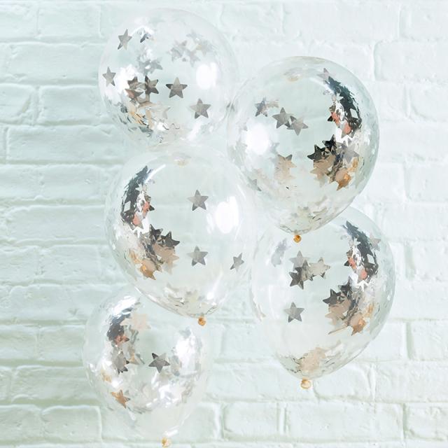 ジンジャーレイ/シルバー星型コンフェッティ入りバルーン/Silver Star Shaped Confetti Filled Balloons