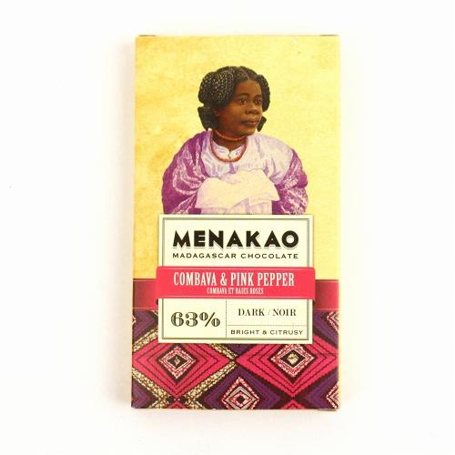 メナカオ ダークチョコレート63% こぶみかん&ピンクペッパー 25G