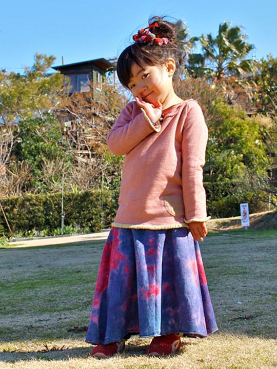 asana KIDS ガールズ フレアースカート・草木染め
