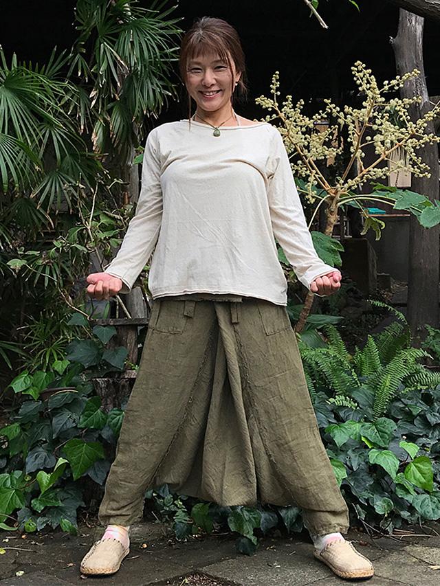 asana 麻100% サルエル タイパンツ・草木染め