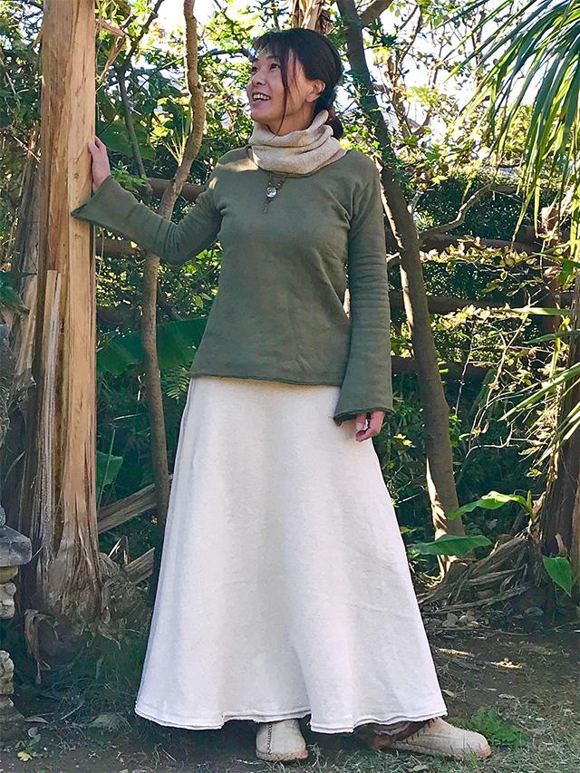asana ふかふか フレアースカート・きなり