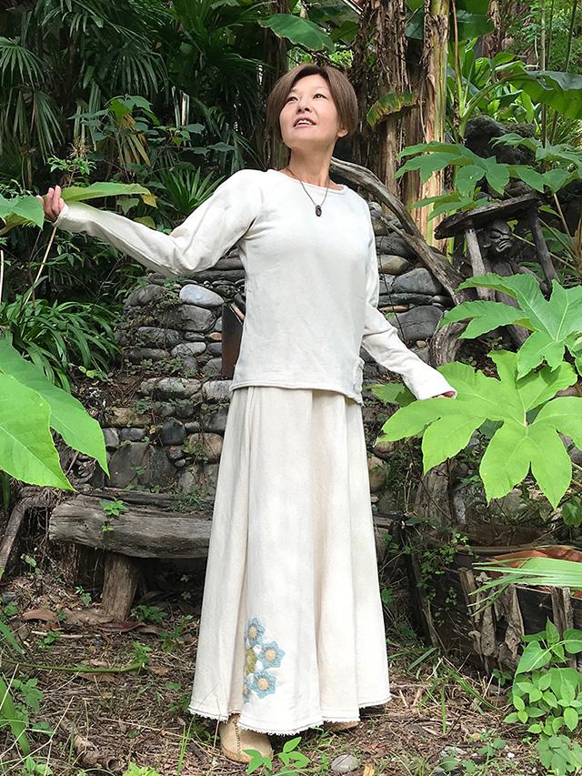asana ヘンプコットン ふかふか フレアー スカート・HEMP糸 かぎ編み 曼荼羅付き・きなり