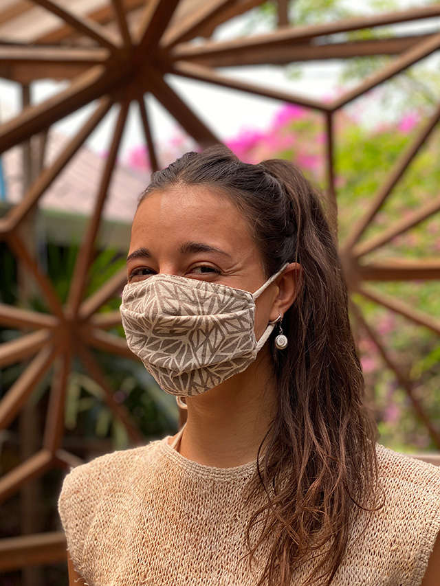 asana やわらか 麻柄プリント 布マスク