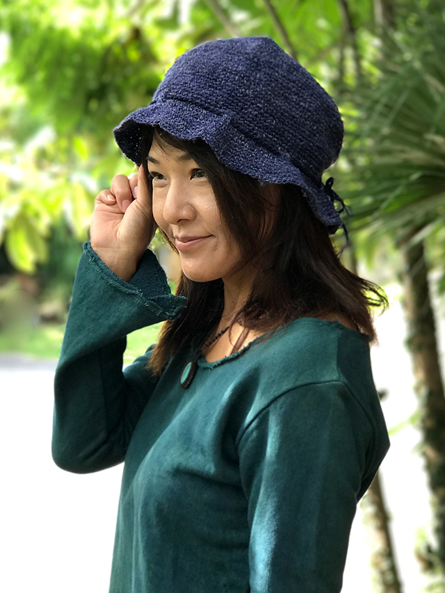 asana HEMP100% 手編み帽子・草木染め
