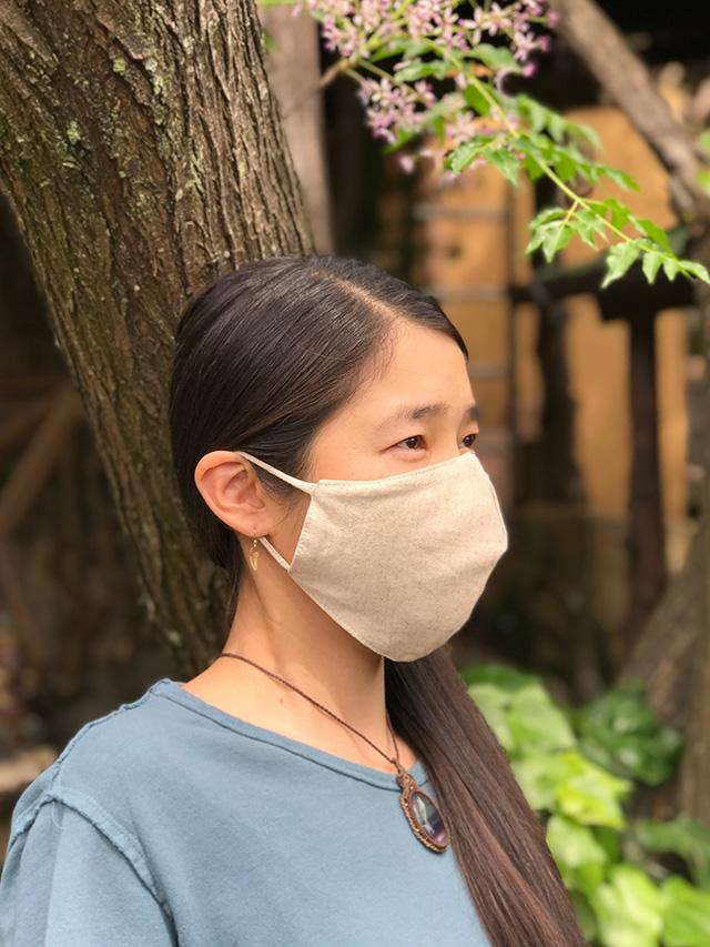 asana ヘンプコットン 端切れ 立体マスク・きなり