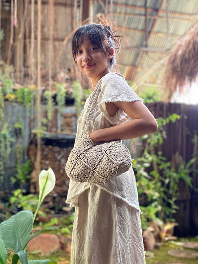 asana HEMP100% 手編み ハンドショルダーバッグ