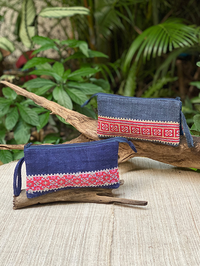 asana HEMP100% 古布 手刺繍 ポーチ