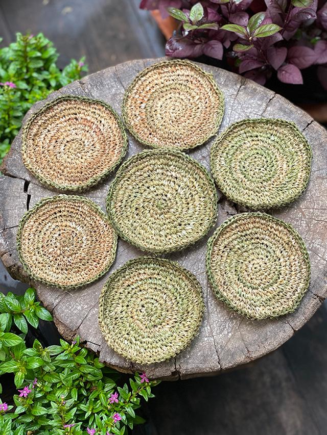 asana HEMP100% 手紡ぎ 手編み コースター