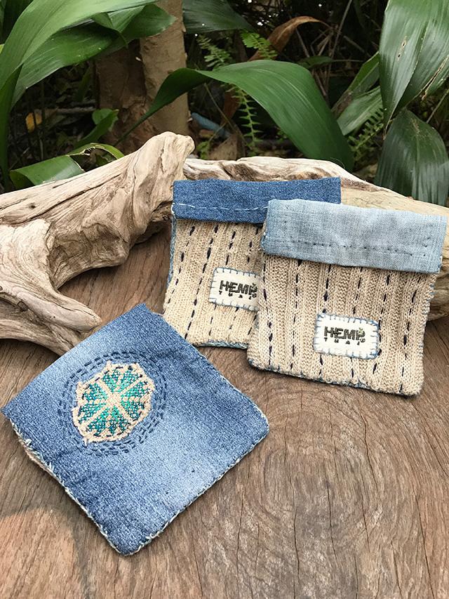HempThai 手縫い ミニポーチ