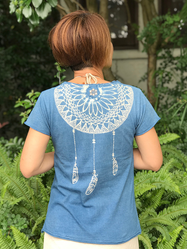 asana x Mandalaya スリムTee・藍染め/Mサイズ