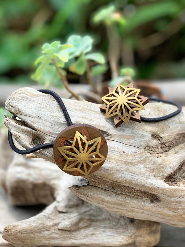 森のいかけ屋 真鍮と木の麻紋様ヘアゴム