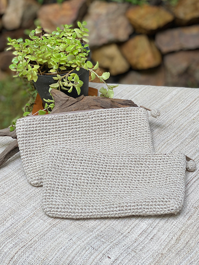 HEMP100% 手編みポーチ・Mサイズ