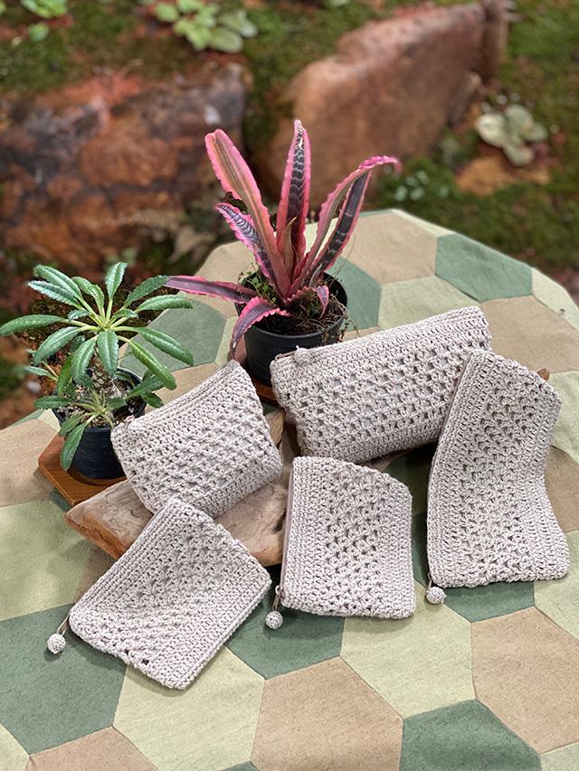 HEMP100% 手編みポーチ