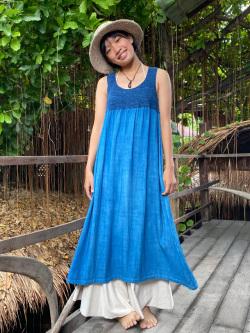 asana HEMP100% かぎ編み 切り替え ワンピース