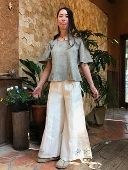 asana HEMP100% 麻柄 手刺繍 ワイド フレアーパンツ・きなり1点もの