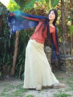asana 手織りHEMPバイアススカート・きなり