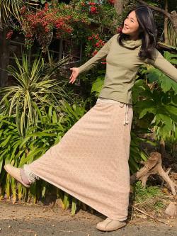 asana 麻柄プリント 紐付きロングスカート