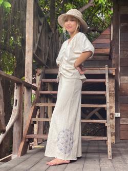 asana ヘンプコットン 厚手 麻柄手刺繍 ロング スカート