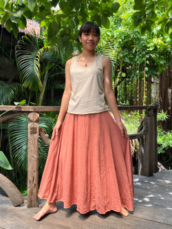 asana ヘンプコットン 薄手 切り替え ロング フレアースカート