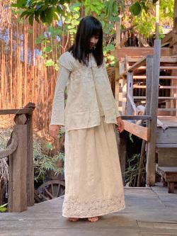 asana HEMP100% 麻柄手刺繍 2WAY スカート
