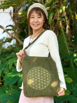 asana HEMP100% 麻柄刺繍 ショルダーバッグ・草木染め