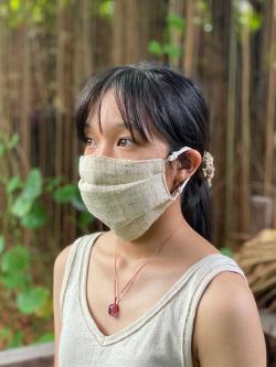 asana HEMP100% NEW 手織り 大判 布マスク・きなり