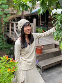asana HEMP100% ハニカム編み 帽子・きなり