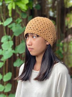 asana HEMP100% ハニカム編み 帽子・草木染め