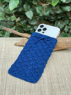 asana HEMP100% 手編み 携帯ケース・草木染め