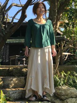 asana x marumushi ギザギザ ロング スカート・きなり・アイヌ刺繍
