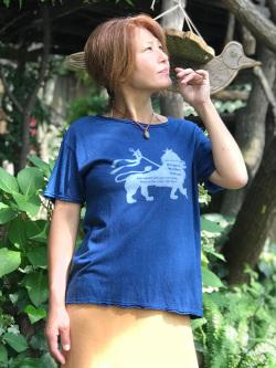 asana x 和水家 ライオンTee・オーガニック藍染め