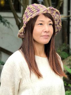 HEMP100% うずまき編みハット