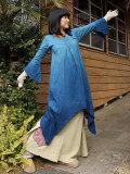 asana 魔法使いワンピース・六芒星刺繍入り 草木染めグラデーション