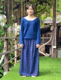 asana 麻柄プリント 2WAY スカート