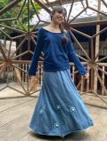 ロングスカート カラー かぎ編み付き