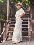 asana 麻柄手刺繍ロングスカート