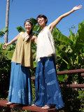 asana NEW ロングフレアースカート・バティック草木染めシリーズ