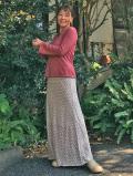 asana ふんわり 麻柄プリント 紐付き ロングスカート