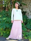 asana ふかふか 麻柄プリント 紐付きロングスカート