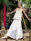 asana HEMP100% フリンジ タイパンスカート・麻柄刺し子刺繍